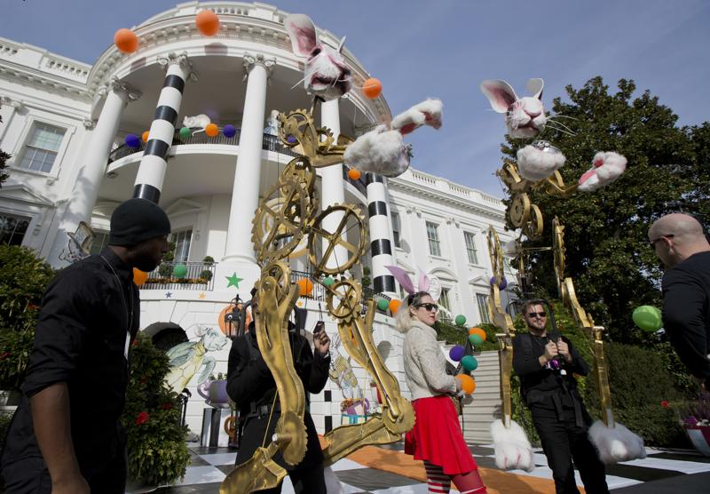 Performers rehearse on the South Lawn of the White House in Washington, Washington, Monday, Oct. 31, 2016, for Halloween festivities President Barack Obama and the first lady Michelle Obama will welcome children from Washington area and children of military families to trick-or-treat celebrating the Halloween. (AP Photo/Manuel Balce Ceneta) (AP)