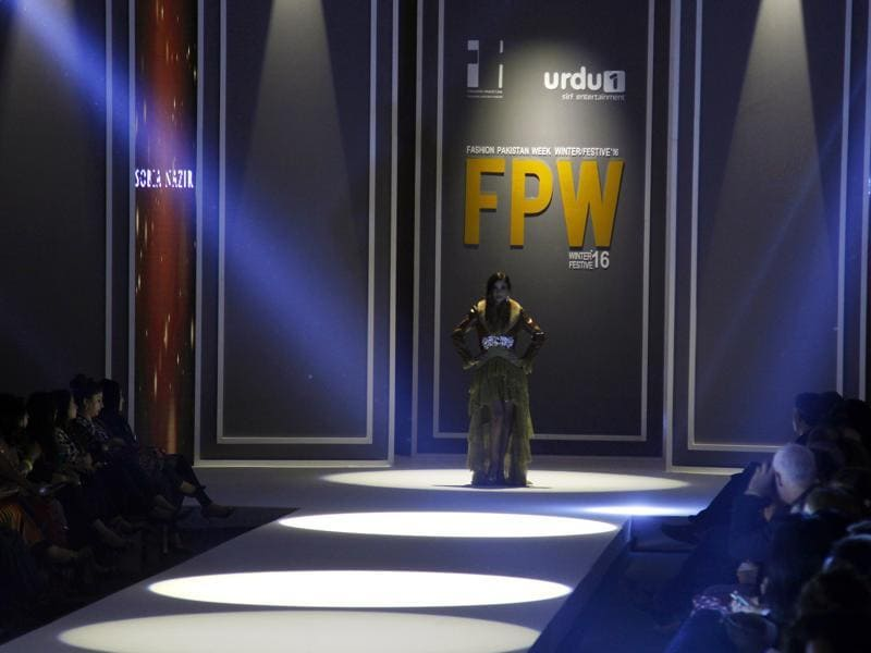 A model ready to present creation of a designer Sobia Nazir during the opening day of Fashion Pakistan Week Winter Festive 16 in Karachi. (AP)