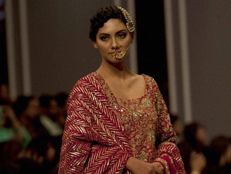 A model presents a creation from designer Nida Azwer. (AP)