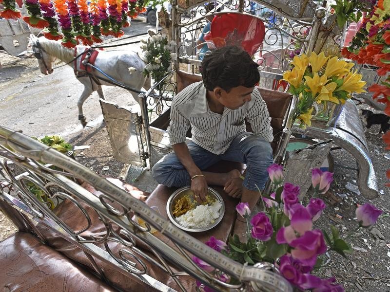 A Victoria driver takes a solitary lunch on his carriage. These drivers live on the carriages. They eat, sleep and spend all their time on the Victorias. Decked up in plastic flowers and LED lights, the carriages do run but the question mark on their future has left many such operators  clueless. (Vijayanand Gupta/HT PHOTO)