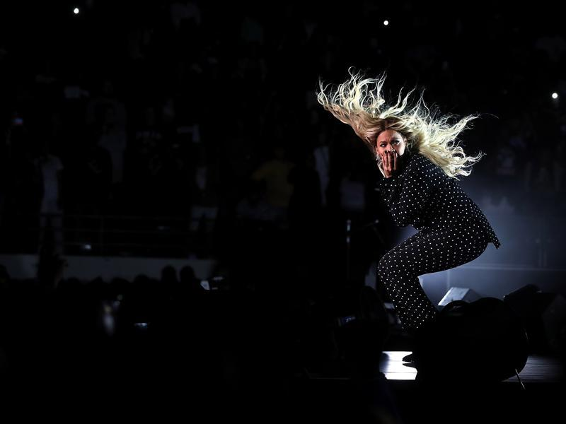 Beyonce performs during a Get Out The Vote concert Democratic presidential nominee former Secretary of State Hillary Clinton with Jay Z (not pictured) at Wolstein Center on November 4, 2016 in Cleveland. (AFP)