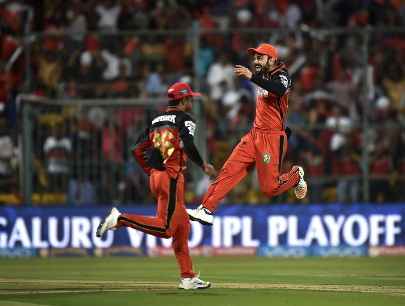 When he's on a high: 'The flying Kohli.' (Ajay Aggarwal / HT Photo)