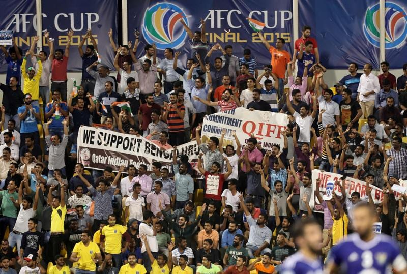 Fans of India's Bengaluru FC cheer the team during the AFC Cup final in Doha. (AFP)