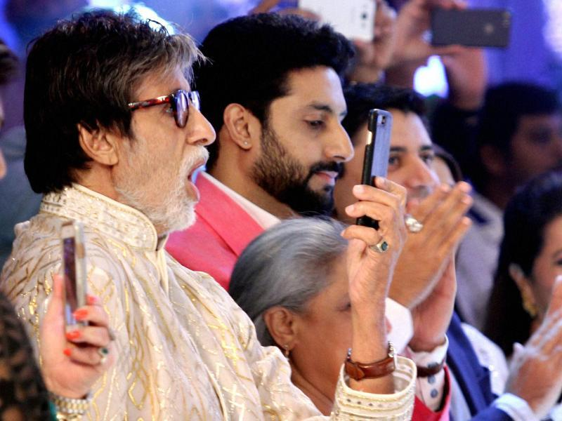 It was not just Amitabh Bachchan who attended the event to support Shweta. He was accompanied by his wife Jaya Bachchan and son Abhishek Bachchan.  (PTI)