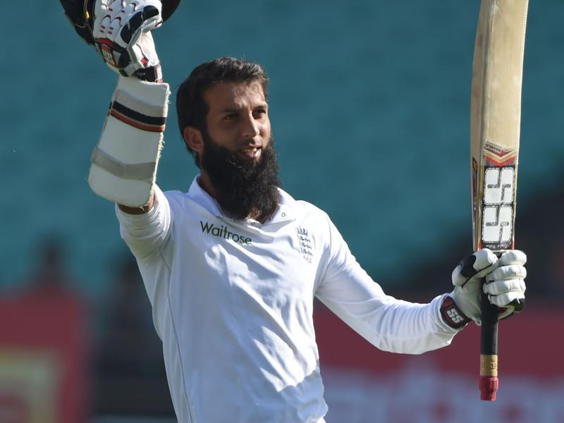 England's Moeen Ali celebrates after scoring a century. (AFP)