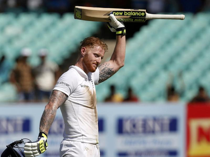England's Ben Stokes celebrates after scoring his century. (REUTERS)