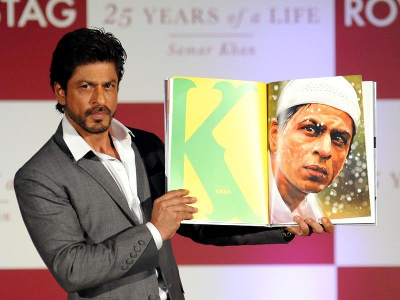 Bollywood actor Shah Rukh Khan poses during the launch of SRK 25 Years Of A Life in Mumbai. (AFP Photo)