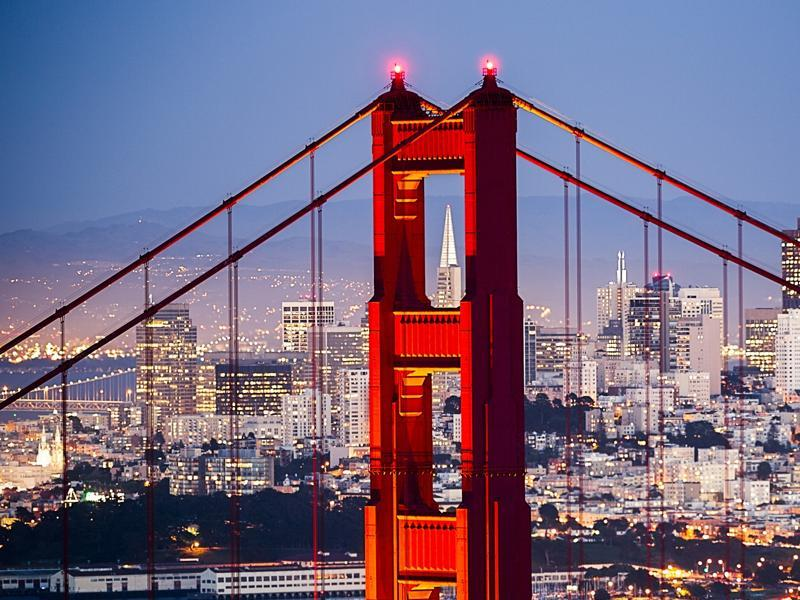 San Francisco is a popular tourist destination and is known for its cool summers and steep rolling hills.