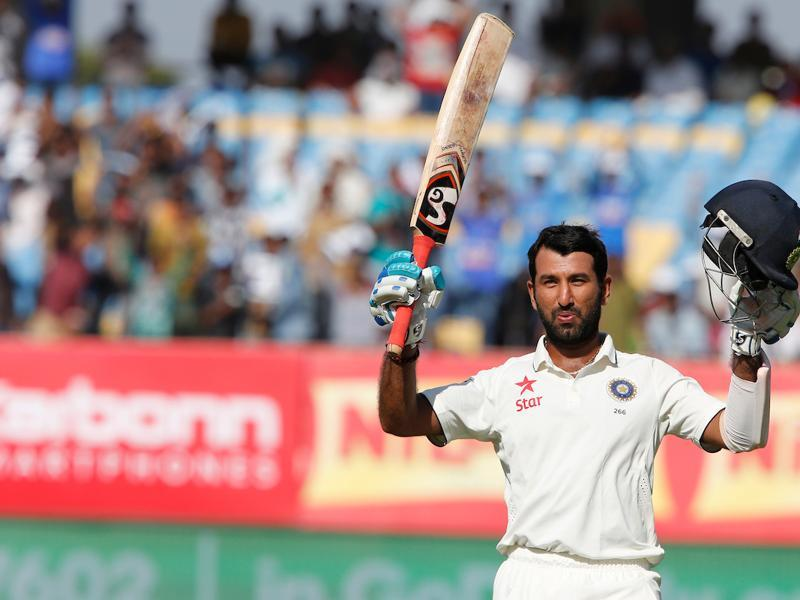 Cheteshwar Pujara notched up his ninth Test century and his third against England. It was the first century by an Indian batsman at the Saurashtra Cricket Assocaition stadium. (BCCI)