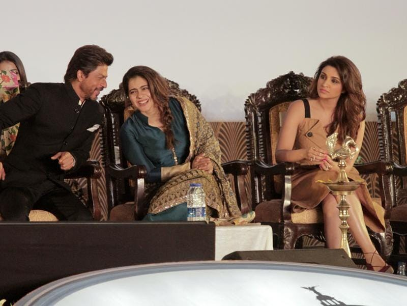 SRK and Kajol share a light moment as Parieeniti Chopra looks on. (AP Photo)