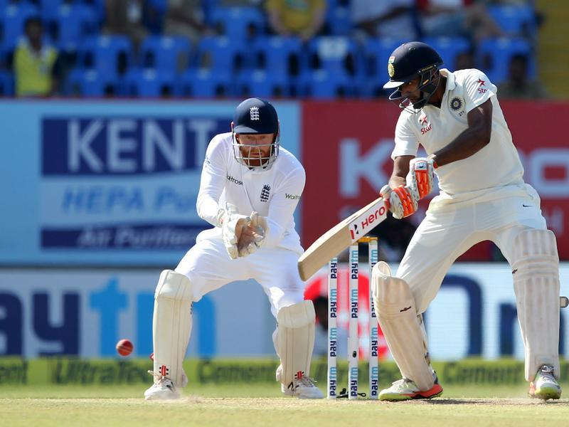 R Ashwin and Wriddhiman Saha strung together a solid stand as India aimed to come closer to the England total (BCCI)