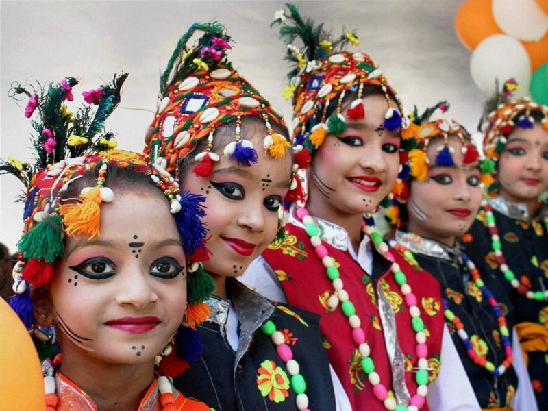 Young girls participate in a cultural programme organised at Jawahar Bal Bhawan to mark Children's Day in Bhopal on Monday. (PTI)