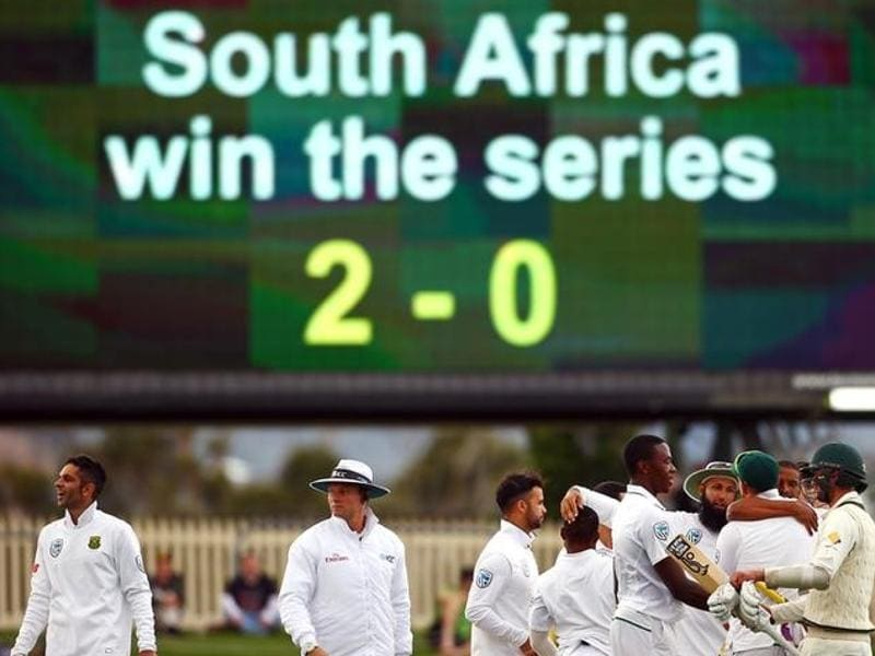 Members of the South African team celebrate after defeating Australia. (REUTERS)