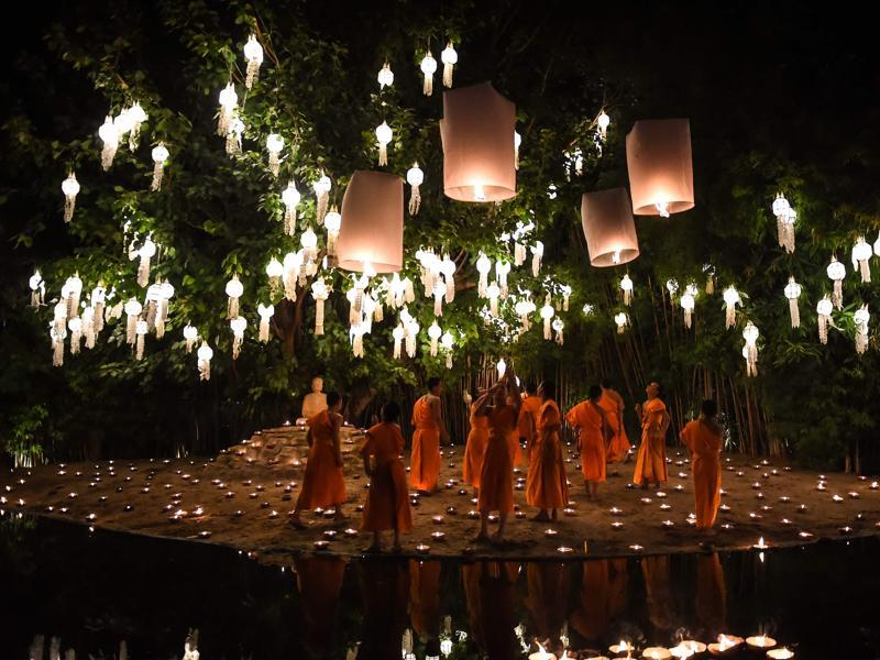 Making lanterns and donating them to temples is considered a noble deed. The light of a lantern is represents the moving away from darkness into a brighter future and is therefore considered significant in the Buddhist culture. (AFP)