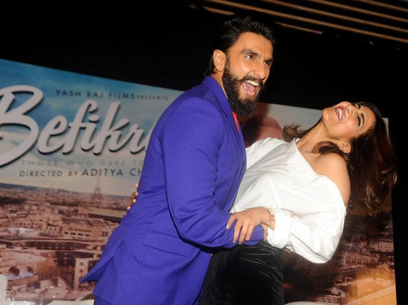 Ranveer Singh and Vaani Kapoor at a promotional event for their upcoming film Befikre in Mumbai. (AFP Photo)