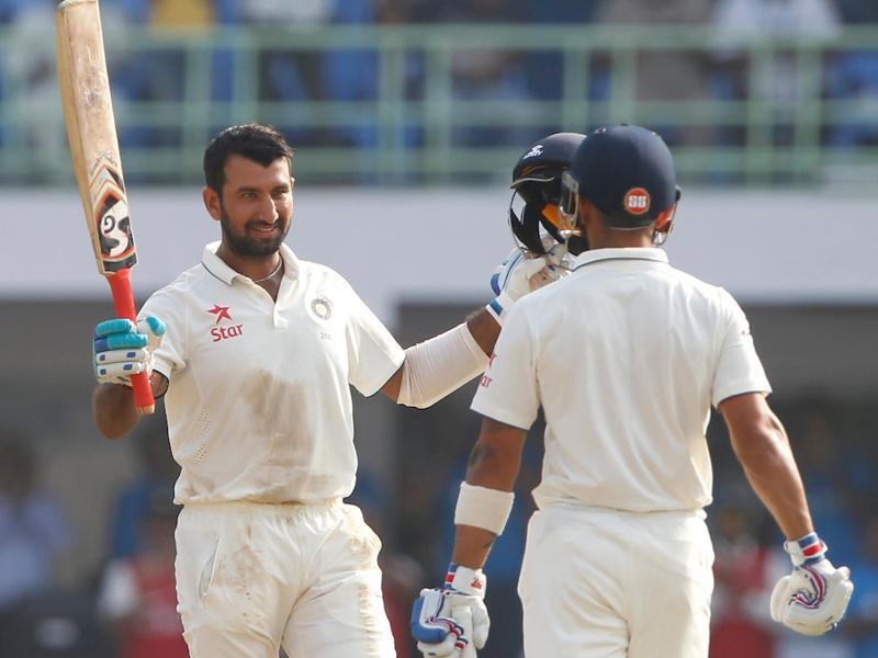 Cheteshwar Pujara of India celebrates his hundred during day one. (BCCI/ SPORTZPICS)
