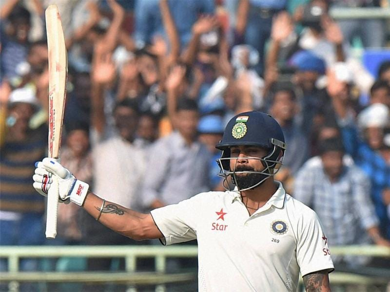 Indian captain Virat Kohli celebrates after scoring a century. (PTI Photo)