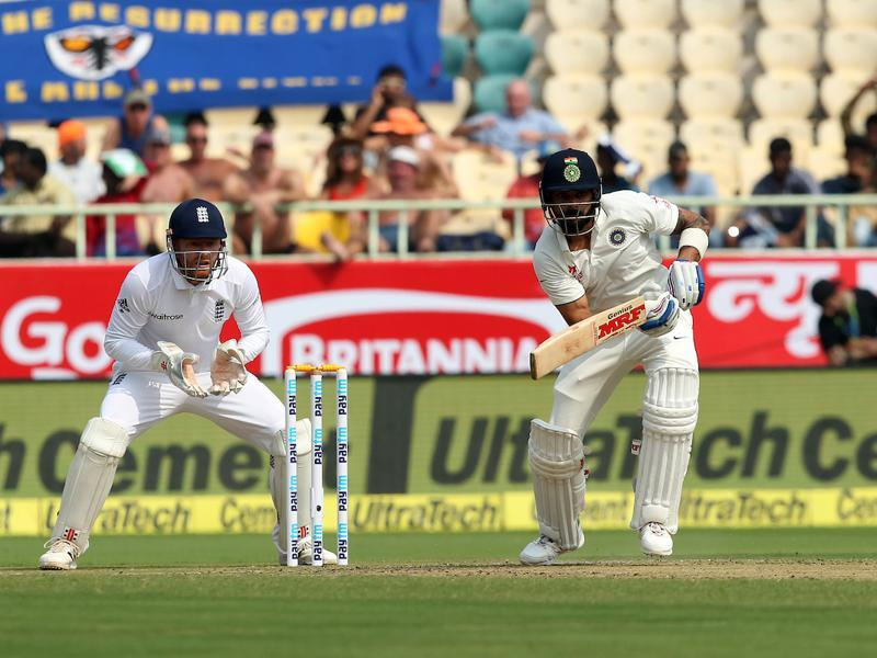 Virat Kohli captain of India plays a shot during day one of the 2nd test match. (BCCI/ SPORTZPICS)