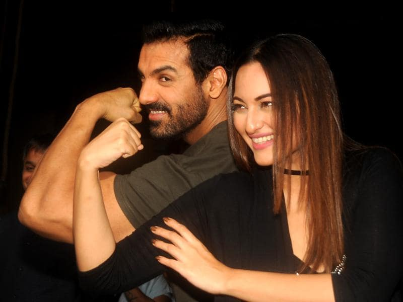 John Abraham and Sonakshi Sinha attend a promotional event for their film Force 2 in Mumbai. (PTI Photo)