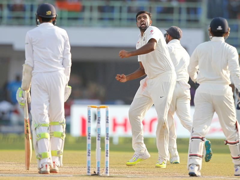 R Ashwin finally struck for India when he removed Hameed for 25 with a shooter that kept low. The 75-run opening stand was broken. (BCCI)