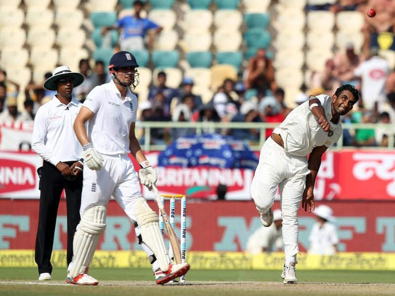 Jayant Yadav and the other Indian bowlers tried hard to take a wicket but both batsmen got their eye in. (BCCI)