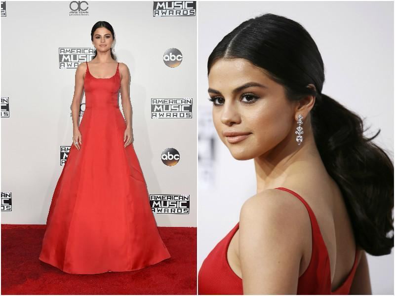 Singer and actor Selena Gomez wore a red Prada number with gorgeous diamond earrings. She completed the look with her thick hair tied into a ponytail.