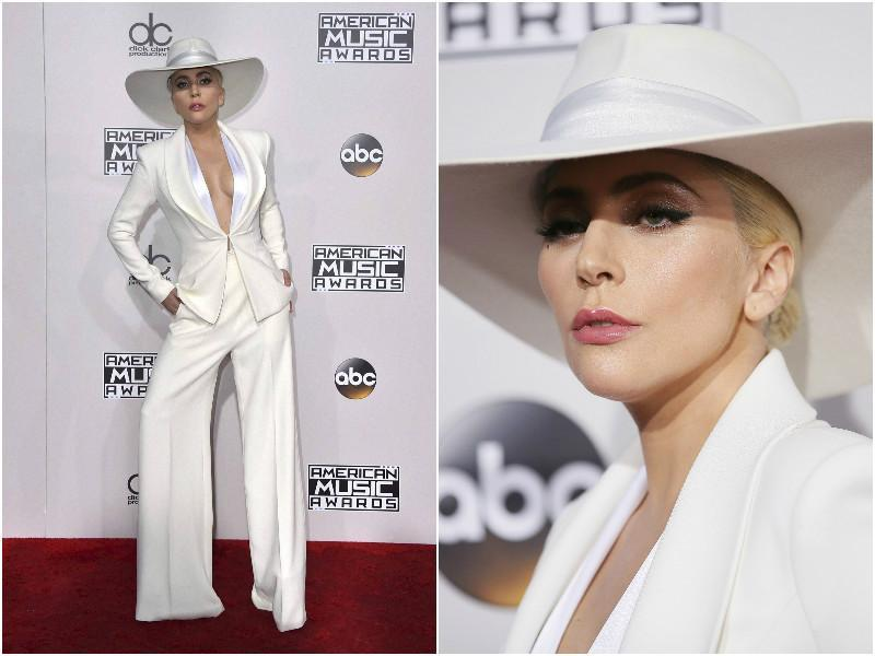 Singer Lady Gaga wore a gorgeously stitched white suit from Brandon Maxwell.