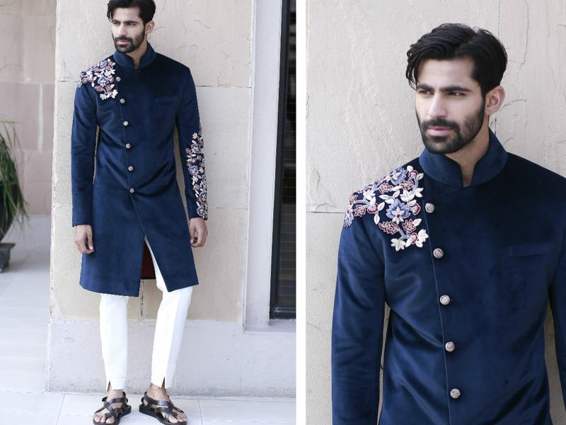 Model Mayank Bajpai wearing a velvet Bandhgala  teamed with a pair of white pants from the  designer's collection.  (photos: Waseem Gashroo/HT)