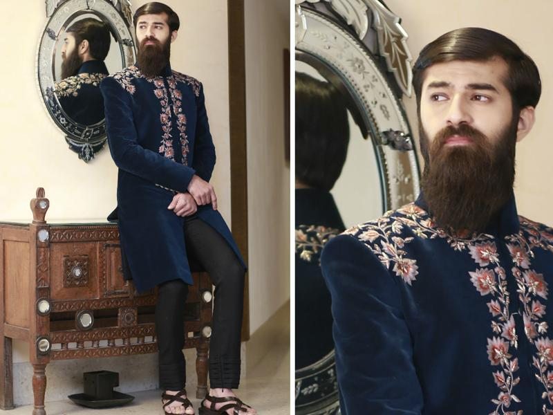 Model Sameer  Rahat Khan exudes royalty in Manish's creation.  (photos: Waseem Gashroo/HT)