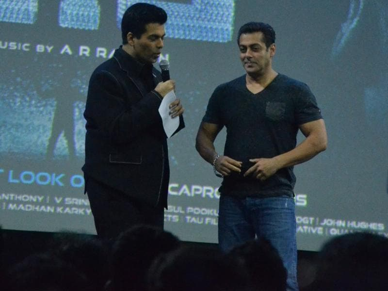 Everybody, including the event's host Karan Johar, was surprised to see Salman Khan there. (IANS Photo)