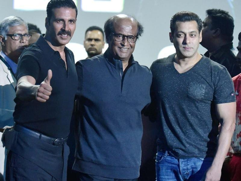 Salman Khan's name was not on the guests' list, but he came for the first look launch of 2.0 to show his respect for Rajinikanth. (PTI Photo)