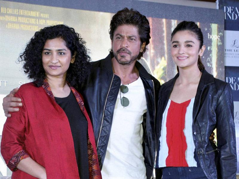 Bollywood actors Shah Rukh Khan and Alia Bhatt and director Gauri Shinde at a promotional event of their upcoming film Dear Zindagi. The film arrives in theatres on November 25. (PTI)