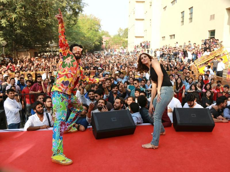 Here, they are at the Faculty of Law, University of Delhi, to launch the latest song on Wednesday.  Though Ranveer is known for his quirky dressing sense, he has taken it to another level altogether this time. Do notice his winged shoes. (IANS)