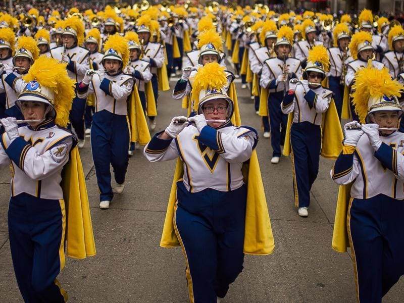 Members of the West Virginia University Marching Band march along. (AP)