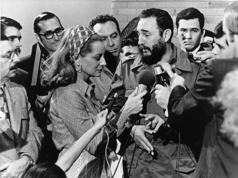 In this May 7, 1975 file photo, Cuba's leader Fidel Castro, center right, responds to a question from American NBC reporter Barbara Walters at a news conference granted to members of the U.S. press covering Sen. George McGovern's trip to Cuba, in Havana, Cuba.  (AP)