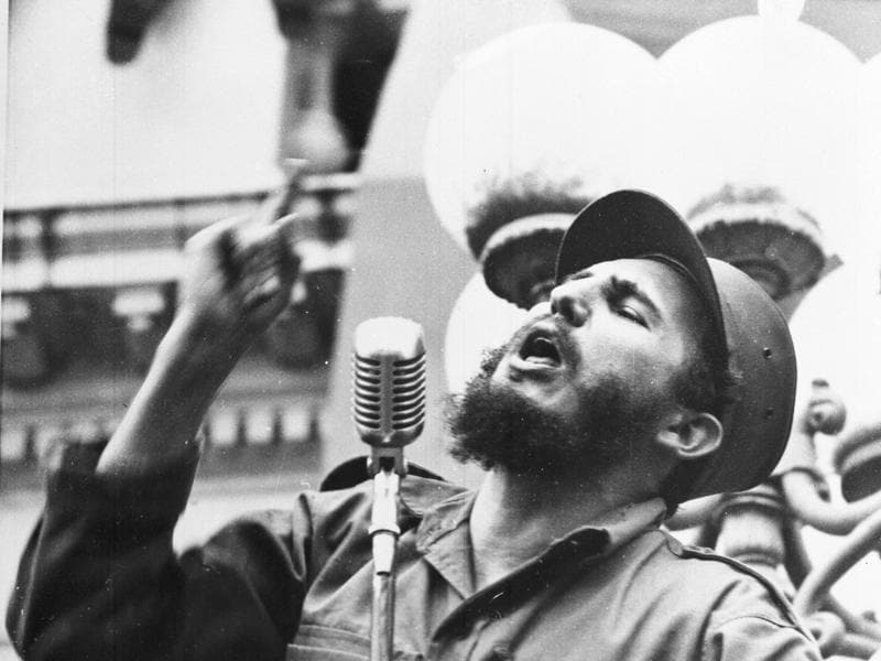 In this February 6, 1959 file photo, Cuba's leader Fidel Castro speaks to a crowd during his triumphant march to Havana after the fall of the Batista regime. Former President Fidel Castro, who led a rebel army to improbable victory in Cuba, embraced Soviet-style communism and defied the power of 10 U.S. presidents during his half century rule, has died at age 90. The bearded revolutionary, who survived a crippling U.S. trade embargo as well as dozens, possibly hundreds, of assassination plots, died eight years after ill health forced him to formally hand power over to his younger brother Raul, who announced his death on Friday. (AP)
