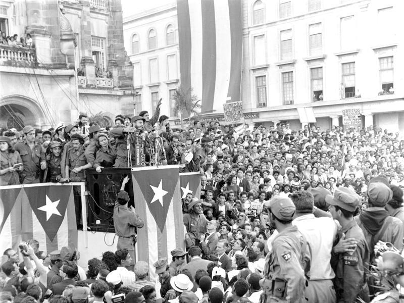 In this January 1959 file photo, Cuba's leader Fidel Castro addresses a crowd in a park in front of the presidential palace in Havana, Cuba.  (AP)