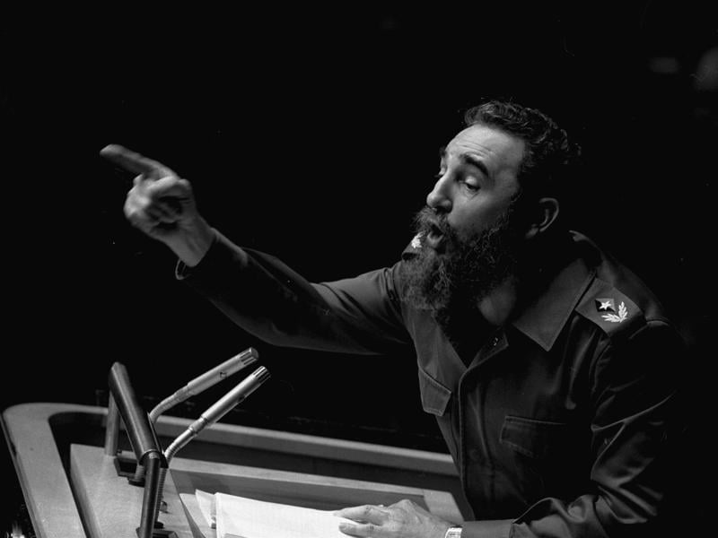 In this October 12, 1979 file photo, Cuban President, Fidel Castro, points during his lengthy speech before the United Nations General Assembly, in New York.  (AP)