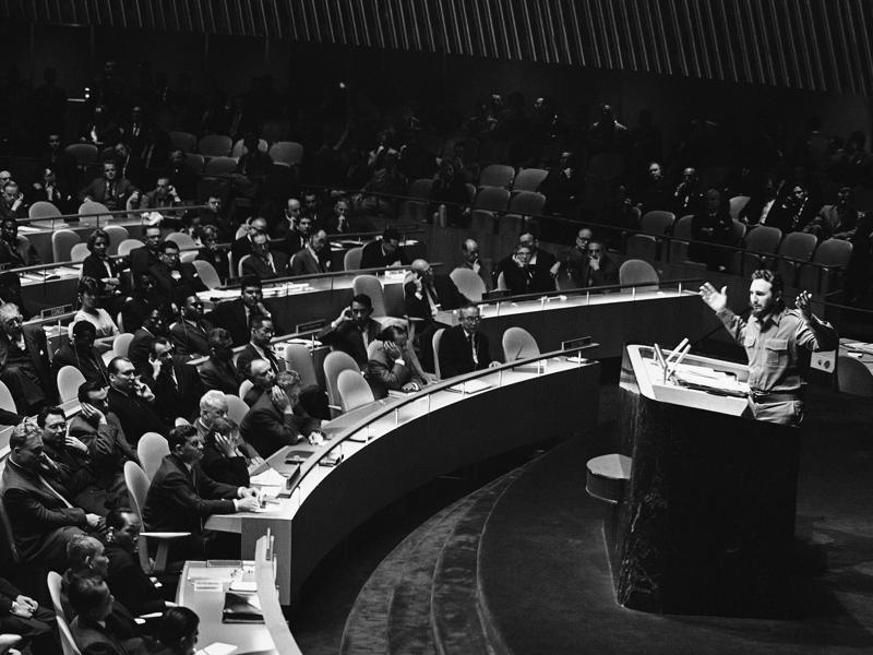 In this September 26, 1960 file photo, clad in his trademark green military fatigues, Cuban leader Fidel Castro denounces the United States in the longest timed speech ever in the U.N. General Assembly.  (AP)