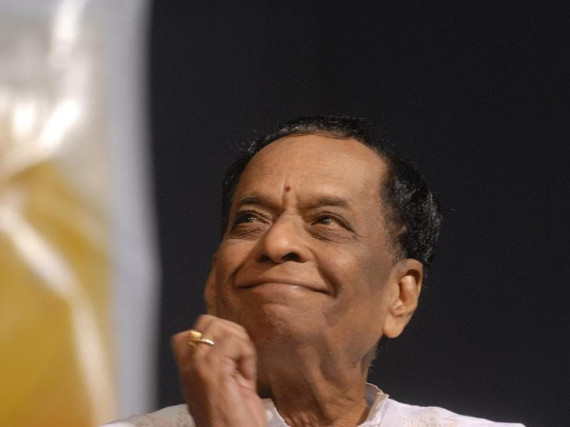 Musician Dr Balamuralikrishna launches the 9th album of 14-years-old K Sathyanarayanan 'Bhajans on Keyboard' in Chennai. A Carnatic vocalist, multi-instrument  player, playback singer, composer and actor, Balamuralikrishna passed away aged 86 on November 22, 2016. He was  conferred with Padma Vibhushan in 1991. (H.K. Rajashekar/Getty Images)