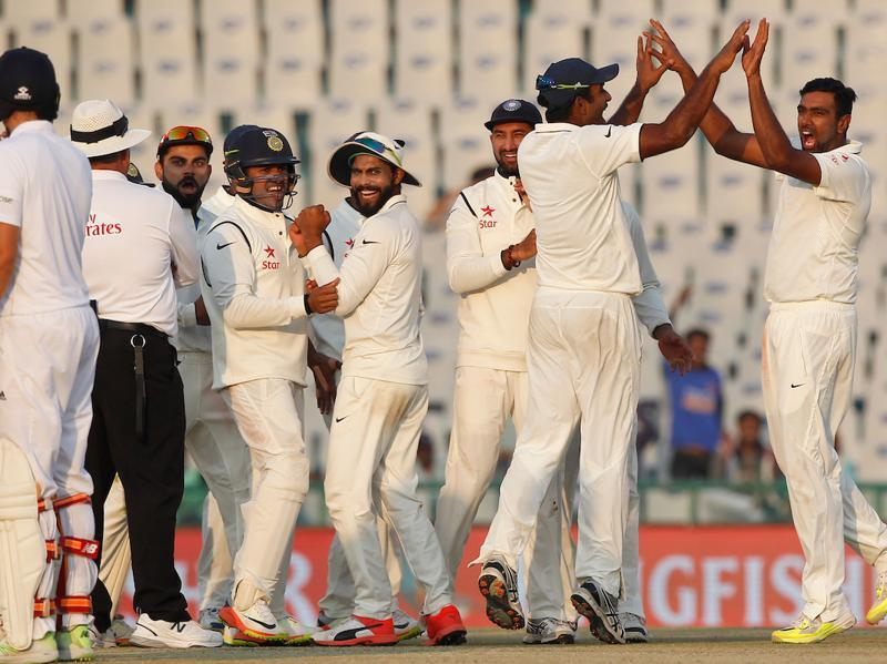 Ravichandran Ashwin picked up the wicket of Ben Stokes in the final over of the day as England ended on 78/4, trailing India by 56 runs. (Photo by: Deepak Malik/ BCCI/ SPORTZPICS)