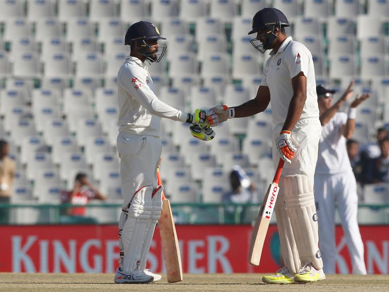 Ravichandran Ashwin and Ravindra Jadeja continued to build a solid partnership as India took the lead on day 3 of the Mohali Test against England. (BCCI)