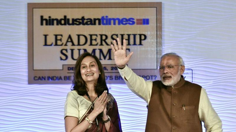 Prime Minister Narendra Modi along with HT Chairperson and Editorial Director, Shobhana Bhartia, during last year's Hindustan Times Leadership Summit in New Delhi.  (gurinder osan/hindustan times)