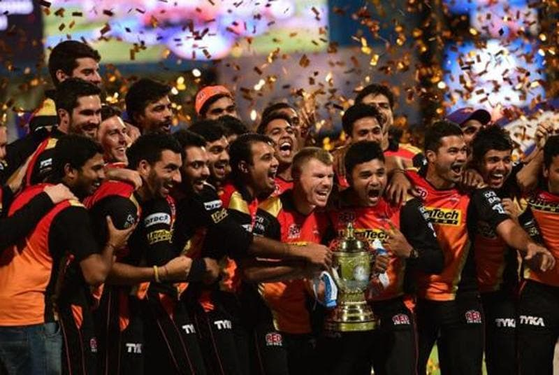 Sunrisers players hold the trophy as they pose for pictures. (PTI)