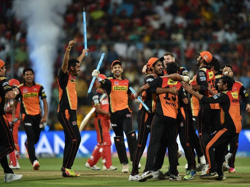 Sunrisers players rush to celebrate after their win. (PTI)