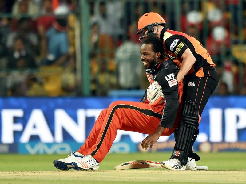 Warner helps Chris Gayle get back on his feet after the West Indian dived attempting to take a catch. (PTI)