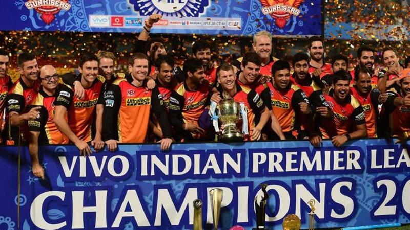 Sunrisers Hyderabad players celebrate with the trophy after winning the 2016 IPL title by beating Royal Challengers Bangalore by eight runs in the final. (PTI)