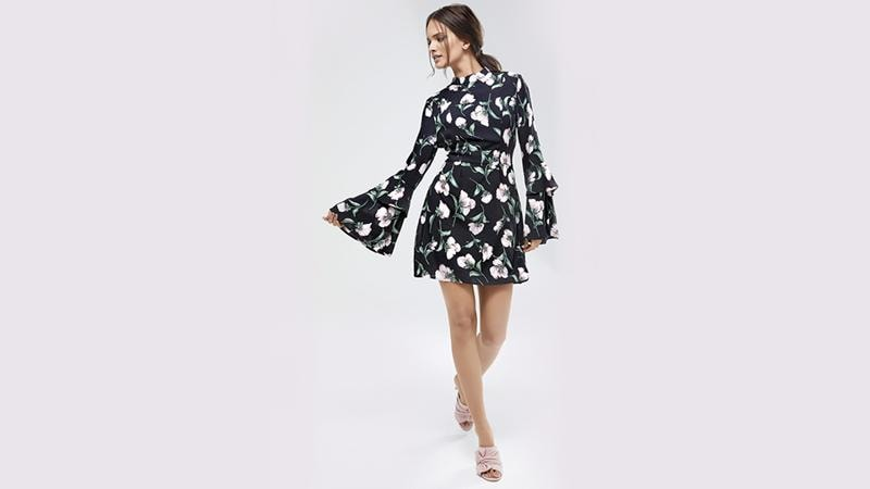 Go feminine this festive season by opting for a bell-sleeved dress. (KOOVS.COM)