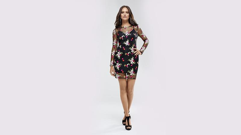 This floral bodycon dress will add a dash of colour to your festivities. (KOOVS.COM)