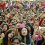 Students participate in a rally held as part of ABVP meet in Indore on Monday.